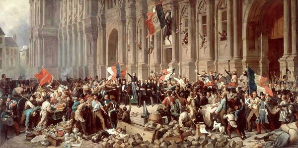"""From WikiCommons: """" 'Lamartine, before the Hôtel de Ville, Paris, rejects the Red Flag,' February 25, 1848. By Henri Felix Emmanuel Philippoteaux (1815–1884). Lamartine said that the red flag represented revolutionary violence, and 'has to be put down immediately after the fighting.' """""""