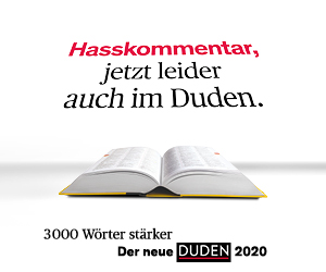 """Hasskommentar"" facebook ad from Duden"
