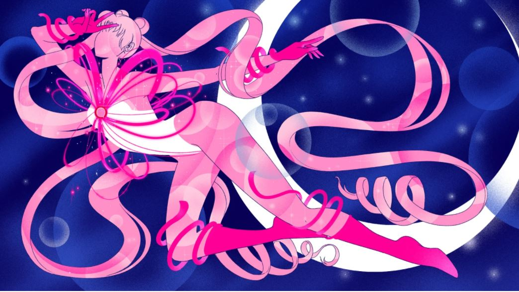 A stylized drawing of Sailor Moon wrapped in pink ribbons