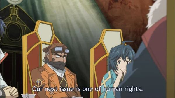"screen capture of anime adaptation of videogame, where character is stating ""our next issue is one of human rights"""
